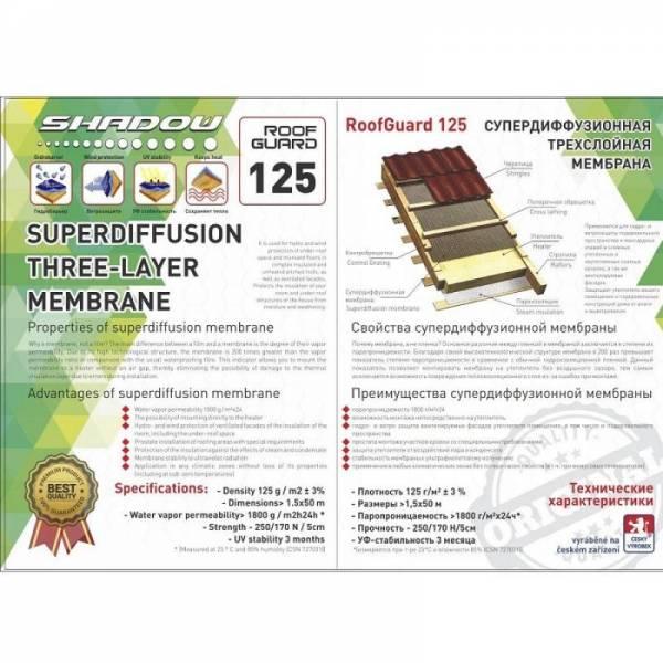 Гидроизоляция, мембрана, гидробарьер Shadow 125г/м2, 1,5х50м, зеленый