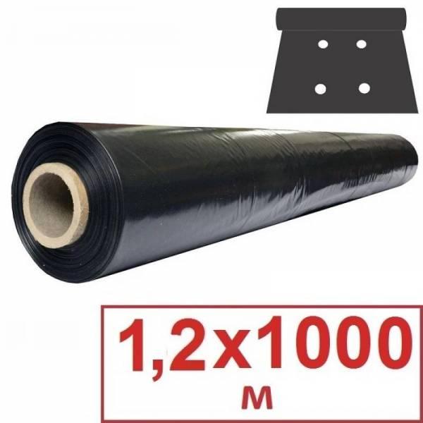 Перфорированная пленка черная 25 мкм, 1,2 х 1000м