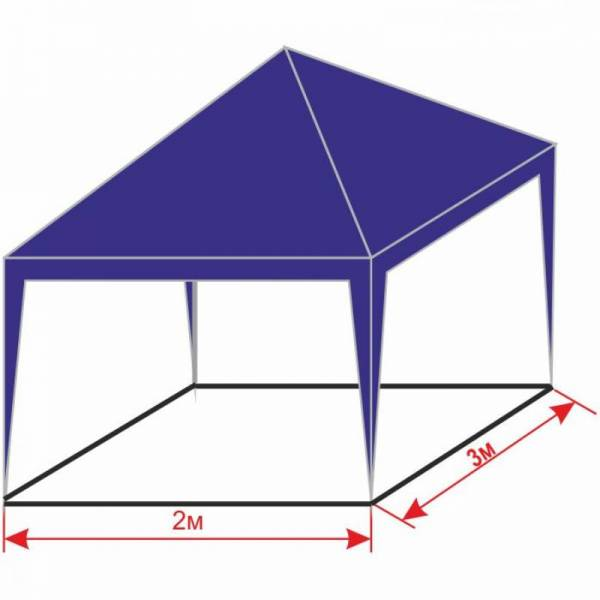 Разборной шатер 2х3 м с тентом плотностью 150 г/м2