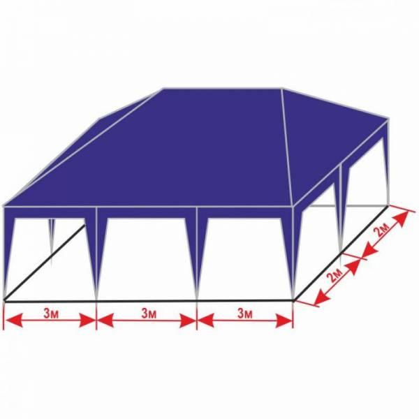 Разборной шатер 4х9 м с тентом плотностью 150 г/м2