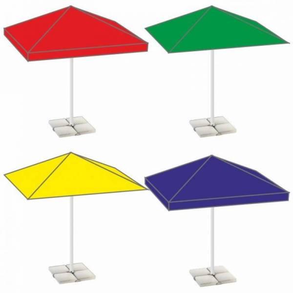 Уличный квадратный садовый зонт 2,5х2,5 м с плитами