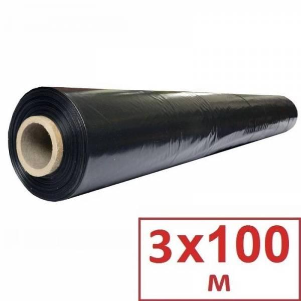 Пленка полиэтиленовая черная 90 мкм, 3 х 100м