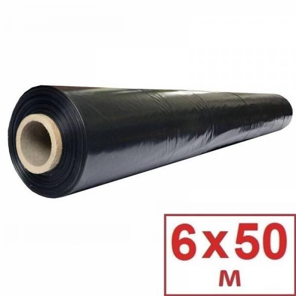 Пленка полиэтиленовая черная 60 мкм, 6 х 50м