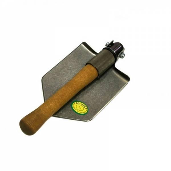 Раскладная титановая лопата для авто с деревянным черенком