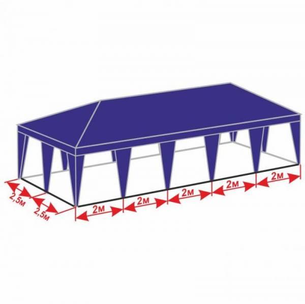 Качественный шатер 5х10 м с тентом плотностью 150 г/м2