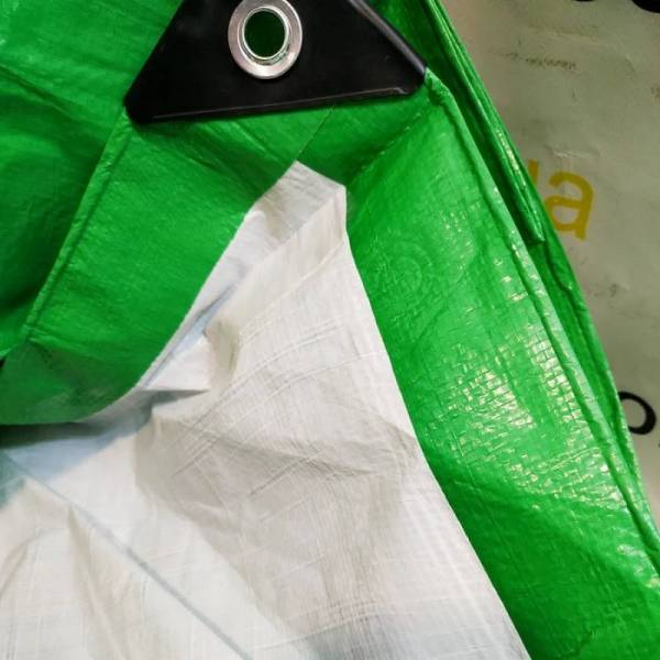 Тент от дождя, 120г/м2, зелено-белый, 6х8м