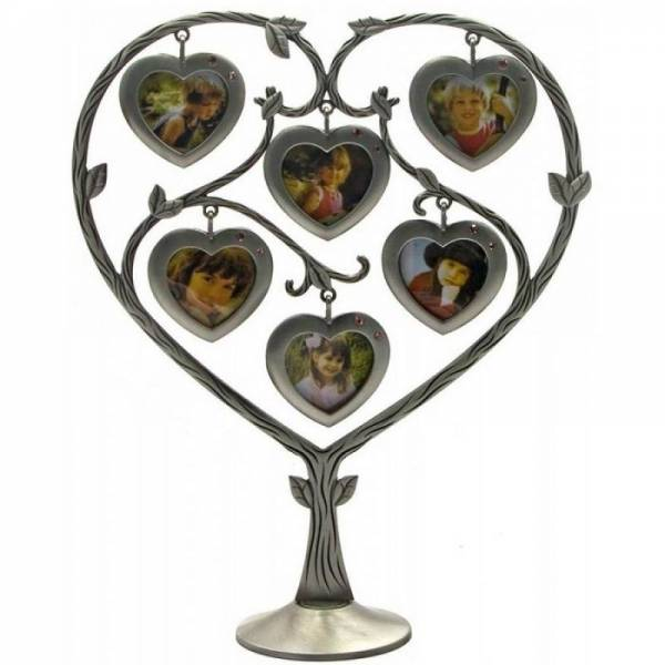 """Металлическая рамка """"Сердце"""" для семьи на 6 фотографий"""