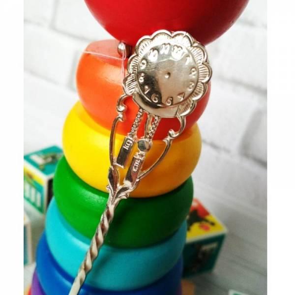 Именная серебряная детская ложка с метрикой