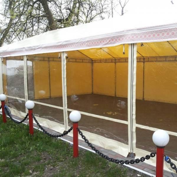 Большой шатер с окнами и стенами для летних кафе с тентом ПВХ