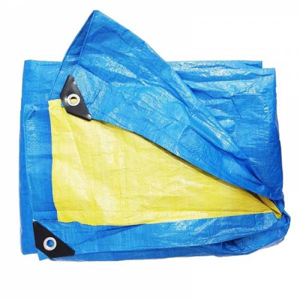 Тент тарпаулін щільністю 90г/м2, синьо-жовтий, 5х6м