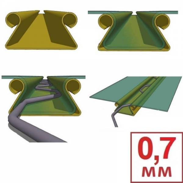 Универсальный клипс профиль для крепления тепличной пленки Зиг-заг 0,7 мм (Цена за 1 метр погонный)