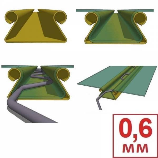 Универсальный клипс профиль для крепления тепличной пленки Зиг-заг 0,6 мм (Цена за 1 метр погонный)